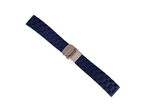 20mm Nonslip Sport Watch Belt Replacement Diving Watch Strap in Blue Rubber with Safety Folded Clasp