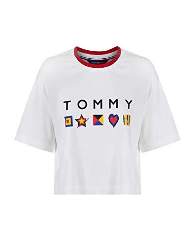 Tommy Hilfiger Playera Th Ath Abby Top Ss Blusa para Mujer Blanco Talla L