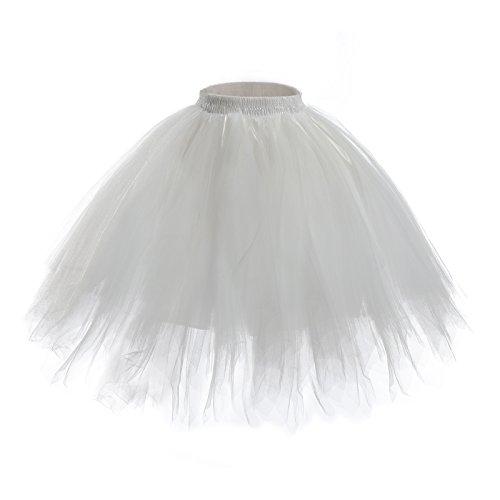 Womens Short Ballet Tutu Skirt - Elastic Vintage Petticoat Adult Bubble Skirt (White-L -