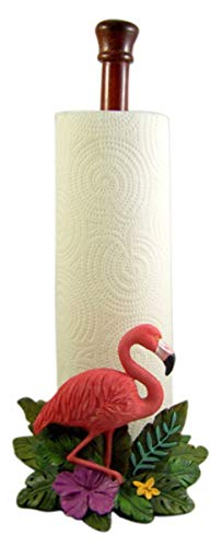 Tropical Flamingo and Palm Leaf Paper Towel Holder, 15 Inches ()