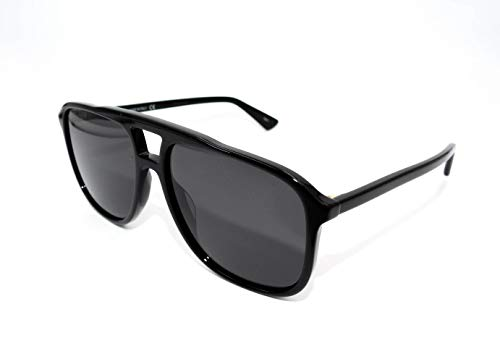 Gucci GG0262S 001 Black Plastic Aviator Sunglasses Grey Lens 001 Black Plastic Sunglasses