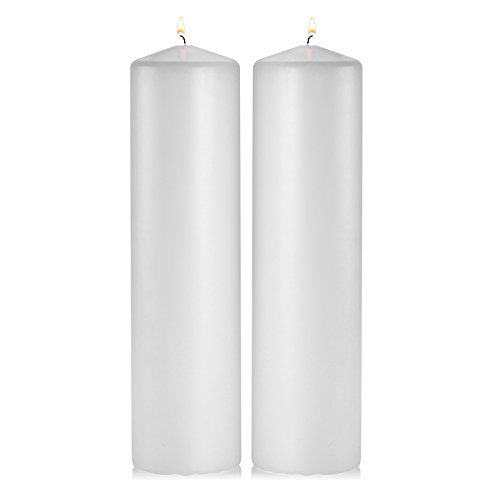 - Light In The Dark White Pillar Candles - Set of 2 Unscented Pillar - 3x12 inches for Wedding Centerpiece Candle, Home Decor and Holiday Celebrations