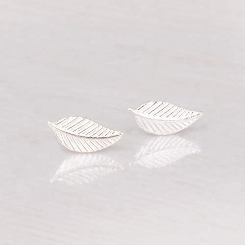 Sterling Silver Leaf Stud Earrings - Designer Handmade Small Post Earrings (Leaf Earrings Studs)