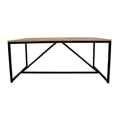 "Moe's Colvin 71"" Dining Table in Brown - Finish: Brown Material: Solid Mango Wood Iron Made of solid wood and iron for a quality long-lasting piece - kitchen-dining-room-furniture, kitchen-dining-room, kitchen-dining-room-tables - 31fChKD90wL. SS400  -"