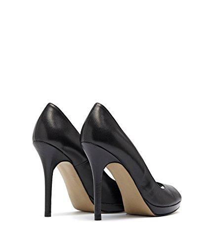 PoiLei klassische Peep-toes Pumps High-Heels Damen Mira mit Stiletto-Absatz Echt-Leder schwarz