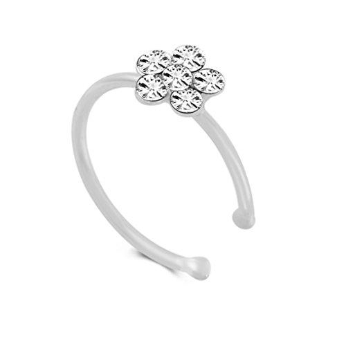 Flowers Hoop Ring (Xuanhemen Rhinestone Flower Fake Hoop Nose Ring Punk Fake Lip Clip Girl Nostril Hoop Ear Hoop Ring Body Jewelry)