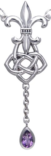 Jewelry Trends Sterling Silver Fleur De Lis Celtic Knot Pendant with Amethyst Drop on Link Chain Necklace