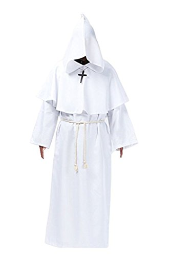 Probeauty Medieval Priest Monk Robe Halloween Cosplay Costume Hoodie Cloak For For Wizard Sorcerer (XL, White) -