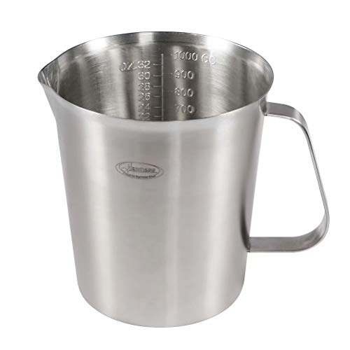 Measuring Cup, [Upgraded, 3 Measurement Scales, Including Cup Scale, ML Scale, Ounce Scale], Newness Stainless Steel Measuring Cup with Marking with Handle, 32 Ounces (1.0 Liter, 4 Cup) by Newness Focus On Stainless Steel