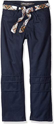 Eddie Bauer Girls' 5 Pocket Twill Pant with Reversible Belt,
