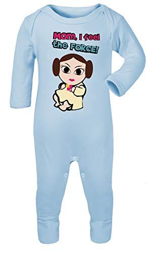 Baby Leia Star Wars Print Footies Pajamas Sleep & Play Hypoallergenic Cotton (Sky Blue, 6-12 -