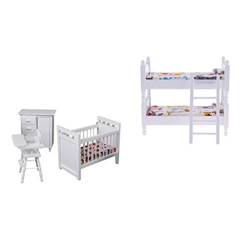 Perfk 1/12ドールハウス装飾 ミニチュア ベッドルーム 二段ベッド 保育室モデル 高品質の商品画像