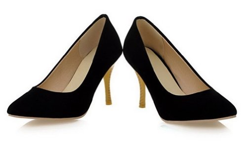 VogueZone009 Pointed Womens Closed Black High Toe Solid PU Frosted Pumps Heel 66Apx4wq