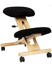 duehome - Ergonomisk kontorsstol, skrivbordsstol, svart och bokträ, mått: 46 cm (bredd) x 68 cm (djup) x 52-62 cm (höjd)