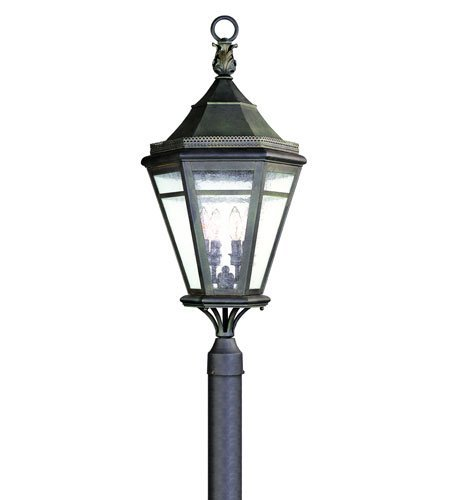 Troy Lighting Morgan Hill 4-Light Outdoor Post Lantern - Natural Rust Finish with Clear Seeded (Natural Rust Troy Lighting)
