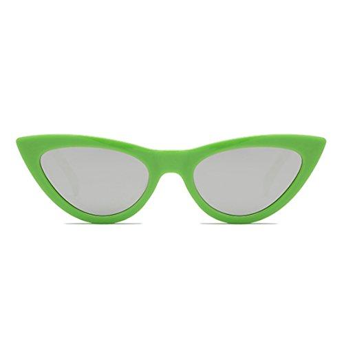 Mujeres Eyewear Vintage Plastic Pequeñas sunglasse Eye Verde Retro Goggles Frame Huicai Cat n0wqxd106