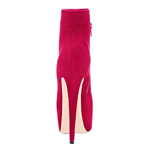Stivaletti Da Donna Slim Fashion Da Donna Con Punta Arrotondata Lavorata A Mano Sottile Rosso Rosa