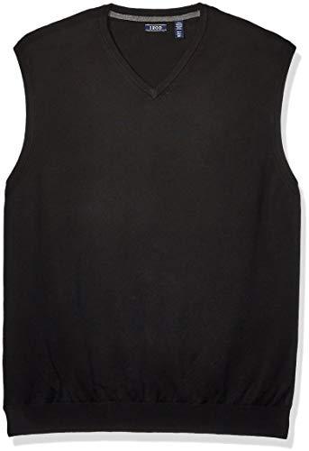 IZOD Men's Big & Tall Tall Premium Essentials Solid V-Neck 12 Gauge Sweater Vest, Black, 3X-Large Big