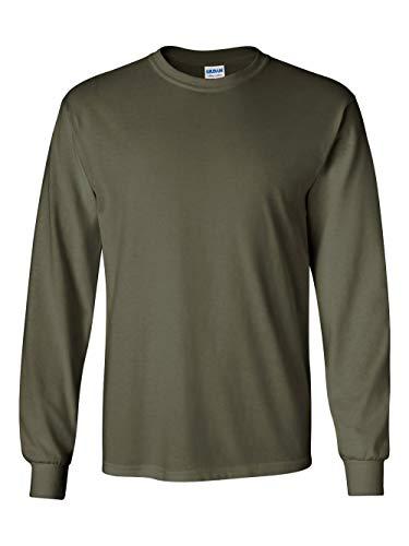 Gildan G240 Ultra Cotton Long-Sleeve T-Shirt - Military Green - 4XL