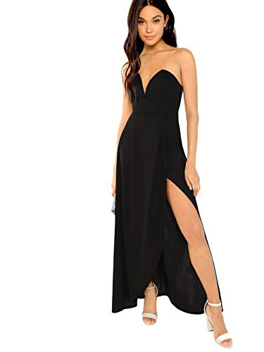 Verdusa Women's Bandeau Off Shoulder Flared Party Split Long Dress Black XL