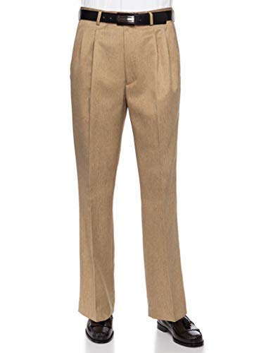 RGM Mens Dress Pants, Formal and Work Slacks for Men - Pleated Front Cuffed Hem Tan 34 -