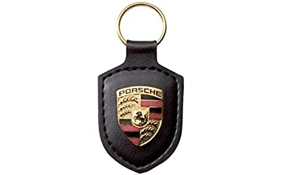 Angel Mall Porsche Black Crest Leather Key Chain Car Logo Key Ring Fashion Gift 1-pc Set