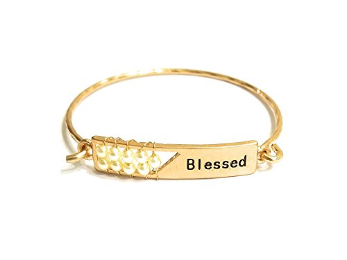 Occasions Gift Giving Blessed Engraved Wire Wrapped Metal Faceted Bead Wire Hook Clasp Bangle Bracelet (Worn Gold-Cream) ()