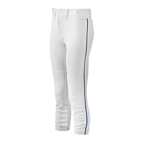 - Mizuno Adult Women's Belted Piped Fastpitch Softball Pant, White-Navy, X-Small