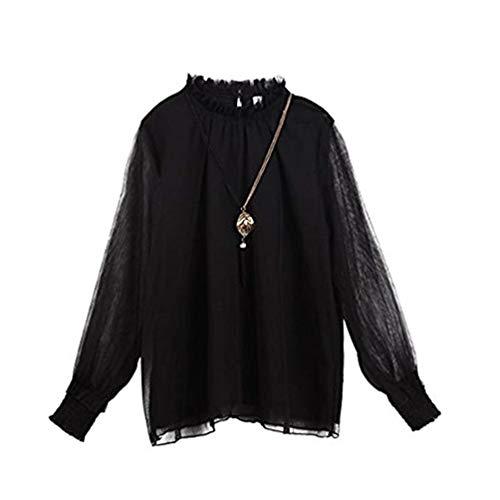 POINGS Manches Longues Elgant Noir Blouses Shirts Haut Femme Tops Maille Mousseline AtPrAq