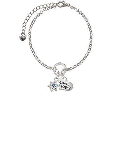 Silvertone Mini Star of David with Blue Crystal Grandmother You Are Loved Circle Bracelet 8