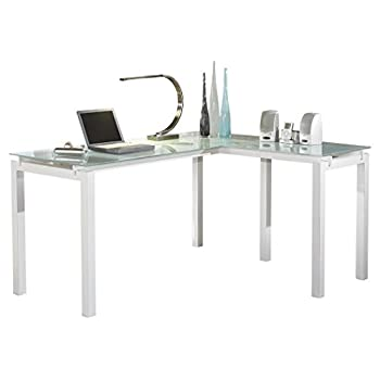Ashley Furniture Signature Design - Baraga Home Office Desk - Contemporary Style - Glass Top - white