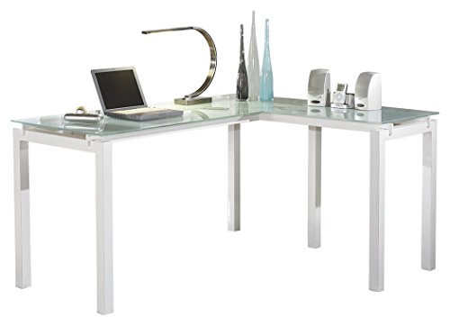 Ashley Furniture Signature Design - Baraga Home Office Desk - Contemporary Style - Glass Top - white (White Computer Cabinet)