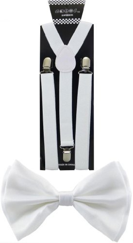 Nice Shades Combo Pack Suspenders & Bow Ties White