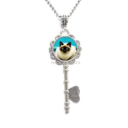 Cat Photo Art Glass Pendant Cat Glass Key Necklace for Women Summer Style Glass Pendants Jewelry -RG127