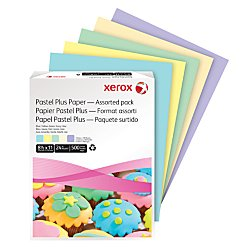 Xerox(R) Multipurpose Pastel Plus Paper, Letter Size Paper, 24 Lb, 30% Recycled, Assorted, Ream Of 500 Sheets