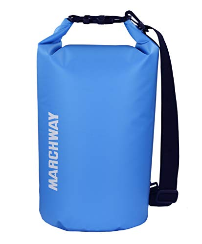 MARCHWAY Floating Waterproof Dry Bag 5L/10L/20L/30L, Roll Top Sack Keeps Gear Dry for Kayaking, Rafting, Boating, Swimming, Camping, Hiking, Beach, Fishing (Light Blue, 5L)