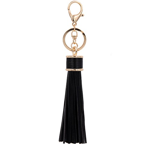 Kiwitwo Women Leather Tassels Keychain Car Circle Key Rings Handbag Accessories