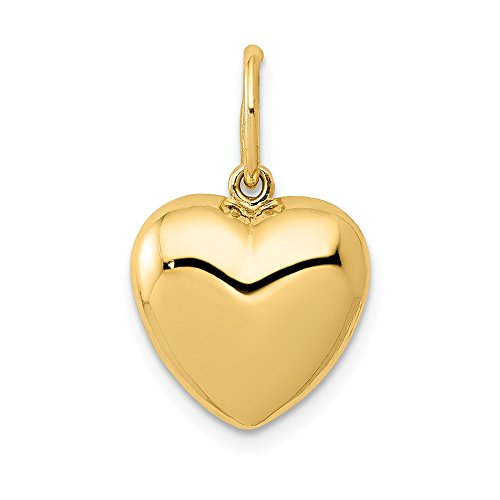 Swarovski Puffed Heart Pendant - 14k Yellow Gold 3 D Heart Pendant Charm Necklace Love Puffed Fine Jewelry Gifts For Women For Her