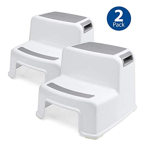 Two Step Stool for Kids (2 Pack) Toddler Stool for Toilet Potty Training Bathroom and Kitchen - Slip Resistant Soft Grip for Safety,Dual Height,Wide Two Step,Stackable