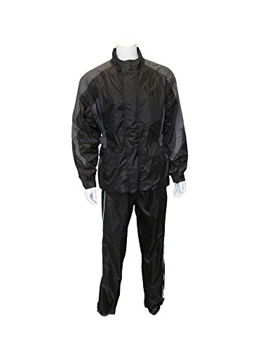 RoadDog 2 Piece Stay-Dry Motorcycle Rain Suit Waterproof Adult Silver/Black 3XL