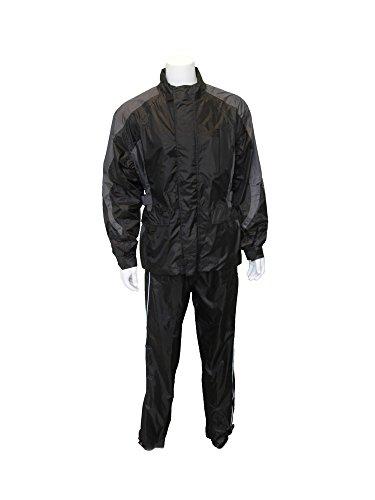 RoadDog 2 Pc Stay-Dry Motorcycle Rain Suit Waterproof Adult Silver/Black X-Large
