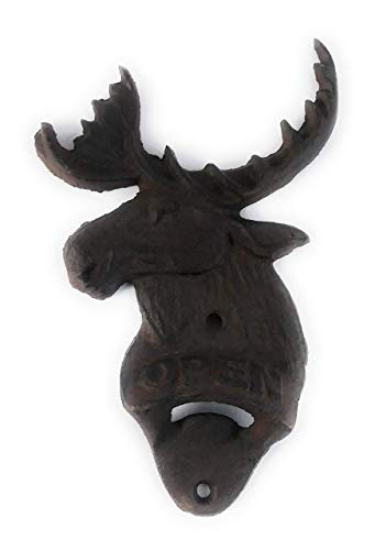 Moose Outdoor Wall - Aunt Chris' Products - Heavy Cast Iron - Moosehead Bottle Opener -