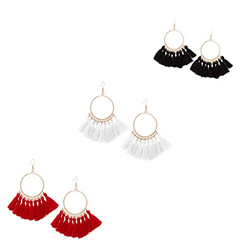 (3 Pairs Bohemian Metal Layered Tassel Pendant Earrings,Fashion Geometric Jewelry for Women Girls Valentine Birthday Party Gifts)