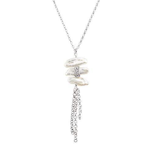 (Silpada 'Organic Trio' Baroque Cultured Pearl Tassel Pendant Necklace in Sterling Silver)