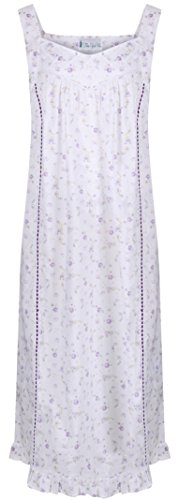 The 1 for U Nancy 100% Cotton Victorian Sleeveless Nightgown 7 Sizes (XXL, Lilac Rose)