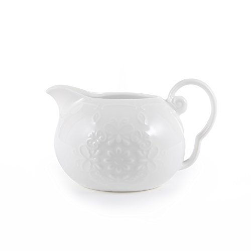 - White Porcelain Creamer Pitcher with Handle Carved Butterfly and Flower,5-Ounce, Milk Syrup Server