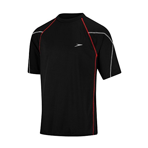 Speedo Men's Breaker Swim Tee Swimsuit Wet Dry Shirt Jersey Black - Wet Outlet Suit