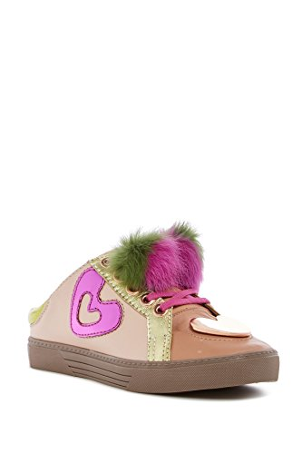 Ivy Kirzhner Sweets Peony In Vera Pelle Di Coniglio Pelliccia Pompom Slip-on Backless Sneaker Mule