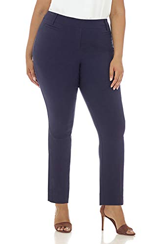 - Rekucci Curvy Woman Ease in to Comfort Straight Leg Plus Size Pant w/Tummy Control (16WSHORT,Navy)