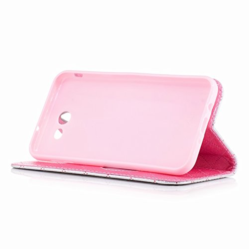 Yiizy Samsung Galaxy J7 (2017) Custodia Cover, Amare Design Sottile Flip Portafoglio PU Pelle Cuoio Copertura Shell Case Slot Schede Cavalletto Stile Libro Bumper Protettivo Borsa (Grigio)